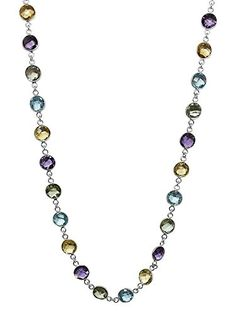 Sterling Silver 8MM Round Amethyst Blue-Topaz & Citrine 43.00 Carat Necklace. MEASUREMENT - 8MM Checkerboard Round Genuine Amethyst, Blue-Topaz & Citrine Multi-Gemstone 925 Silver Necklace. CRAFTED - in High-Quality Lead Free 925 Sterling Silver that delivers exceptional shine and ultimate protection. CARAT TOTAL WEIGHT - 43.00 CT. TOTAL SATISFACTION GUARANTEE - When you order today, you're protected. The item comes with a No questions asked money back guarantee combined with world class…