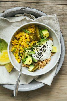 farro breakfast bowl w/ turmeric + scallion scrambled chickpeas // the first mess