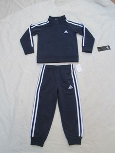 96b68273c Adidas Boys Track Suit 2 Piece Color Blue White AG6058 AB02 BLCA48 Sizes 4  &