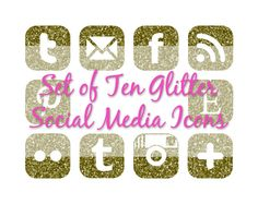 Cute gold, glittery social media buttons for your blog!