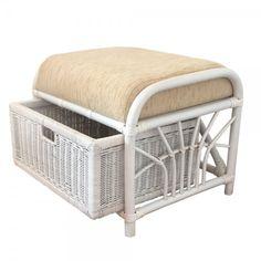Rattan Wicker Ottoman Storage Jerry Color White Wash w/Cushion Pouf Footstool, Storage Footstool, Ottoman Footstool, Ottomans, Cane Furniture, Furniture Sets, Rattan Outdoor Furniture, Furniture Catalog, Cushions