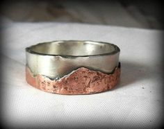 Mountain range silver and copper wedding band, Men's  Ring, unisex jewelry, custom made rustic sterling ring, Men's Rustic Band