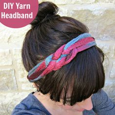 Make a Super Cute Knotted Yarn DIY Headband - GREAT way to use leftover ruffle yarn!