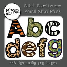 Bulletin Board Letters: Mega Animal Safari Print Bundle (Classroom Decor) Included in this packet are 448 high quality .png image files. You will get the letters A-Z (upper and lower case), the numbers 0-9, and special characters ! ? in all 7 different animal print designs (zebra, giraffe, peacock, tiger, jaguar, cheetah, and alligator).