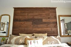 DIY rustic palette headboard... see how this headboard was made.. also includes measurements for a king size headboard, great cheat sheet to make your own!