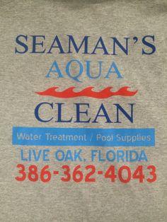 Screen Print - 3 Color Full Back on Ash T-Shirts - Seaman's Aqua Clean, Live Oak, FL