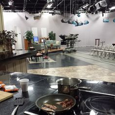 Lonely bacon cooking in an empty television studio