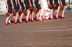 Bridesmaids - black dress and red shoes.