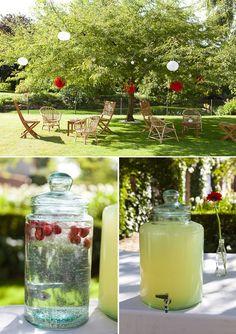 deco mariage rouge et blanc - bonbonne limonade - fleur de sucre photography