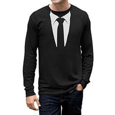 $20 - Tuxedo Tie Printed Suit Men's Long Sleeve T-Shirt Small Black TeeStars…