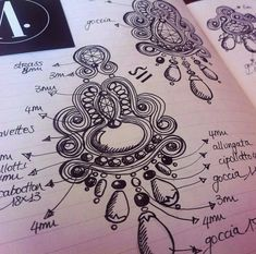 Adel's Laboratory: matita e carta Ribbon Jewelry, Fabric Jewelry, Beaded Jewelry, Handmade Jewelry, Soutache Pattern, Soutache Tutorial, Diy Bead Embroidery, Motifs Perler, Found Object Jewelry