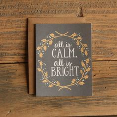 All Is Calm Illustrated Card by 1canoe2 on Etsy, $4.50