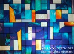 "Picture of SXEG-1027 Stained Glass Abstract. 36"" wide. Window film.  Could also be used on a glass backsplash for kitchen or bathroom."