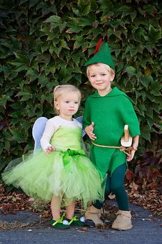peter pan...Im thinking the kids will be Peter Pan and Tinker Bell for Halloween this year! this is too cute!