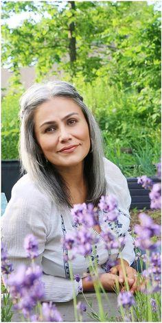 great hair color,  silver hair, gray hair, salt and pepper hair