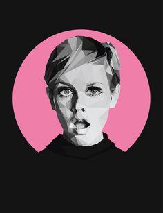 Low-Poly geometric portrait of Twiggy