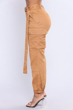 Available In Olive And Camel Stretch Cotton Twill High Waist Cargo Pants Belt High Waisted - Cargo Pants - Camo Pants - Camouflage Pants inseam. Fashion Pants, Fashion Outfits, Womens Fashion, Fashion Edgy, Fashion Top, Fashion Black, Fashion Fall, Cargo Pants Outfit, Camel Pants