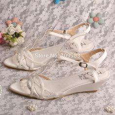 543460cffc59 Find More Women s Sandals Information about Bride Collections Low Sandals  Wedge Shoes Ivory Satin Summer Shoes