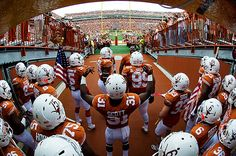 Texas Football's view from the tunnel as they enter Darrell K Royal-Texas Memorial Stadium.