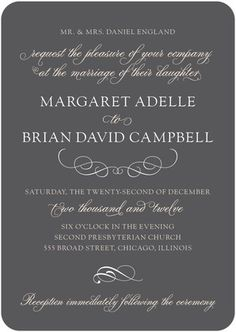 Signature White Wedding Invitations Font Focus - Front : gray better