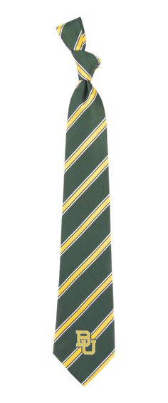 Baylor Bears green and gold striped neck tie with BU logo