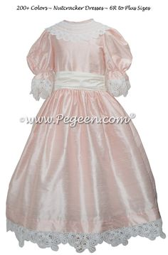 Battenburg Lace in Baby Pink Silk Nutcracker Party Scene Dresses Style 708 by Pegeen