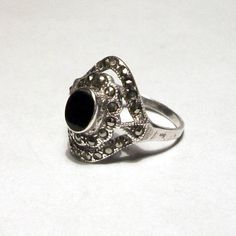 Art Deco Ring Sterling Silver Marcasite Black Onyx Stone