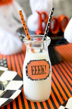 Serve drinks with cute Halloween stickers and straws! Pizzazzerie.com
