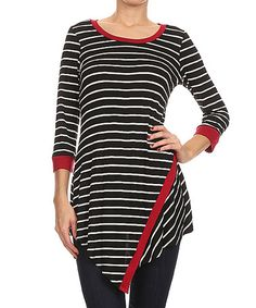 Another great find on #zulily! Black & White Stripe Contrast Tunic #zulilyfinds