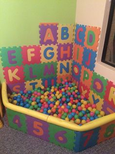Inflatable branded ball pits are so expensive; off cut of wood from the…