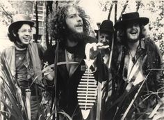 """Jethro Tull, the first line up from """"This Was"""". Left to right Glenn Cornick, Ian Anderson, Clive Bunker (in back) and Mike Abrahams."""