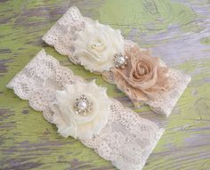 Rustic Wedding Garter, Ivory Bridal Garter Set - Ivory Lace Garter, Keepsake Garter, Toss Garter, Shabby Chiffon Ivory, tan beige Garter