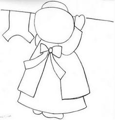 Sunbonnet Sue hanging laundry