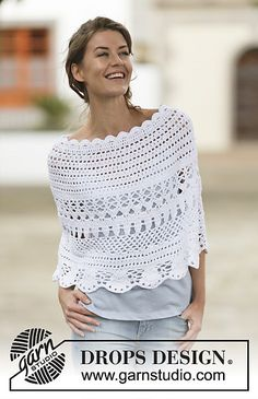 """Crochet DROPS poncho with lace pattern in """"Belle"""""""