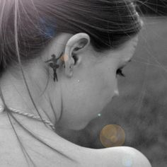 Supa cute #ballerina #tattoo behind ear