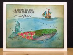 """Day Two: """"Um...I'm gonna need a bigger boat!"""" I know... I know... I really should be working on seasonal type cards, but I just had to paint this new stamp, """"Other Side of Fear,"""" from Unity Stamp Co. Being somewhat on the introverted side of humanity, I struggle with being more social and with the fear of exposing my artwork and smart (s)assy side to strangers! But look at all the awesome friends that I have made without even leaving the house! The watercolors are Distress Inks...shocke..."""