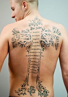 Large Cross and Script Tattoo - 50 Creative Cross Tattoo Designs  <3 <3