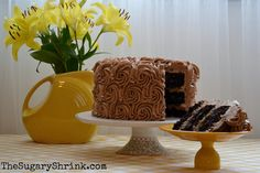 The Sugary Shrink: Delicious German Chocolate Cake (Fiestaware pitcher as vase)
