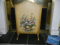 English Barbola Firescreen (Large), Signed