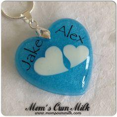 Large heart shaped resin pendants.   Order: mom@momsownmilk.com Facebook, Twitter, Pinterest & Instagram: @momsownmilk www.momsownmilk.com/products   #momsownmilk