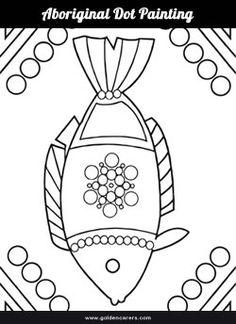 # Australia Day - January 26 # Aboriginal dot painting template for colouring. Aboriginal Art Animals, Aboriginal Art For Kids, Aboriginal Symbols, Aboriginal Dot Painting, Dot Art Painting, Painting Templates, Art Template, Painting Patterns, Australia Crafts