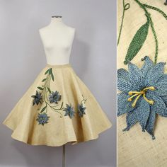vintage 1950s circle skirt / straw woven by LivingThreadsVintage