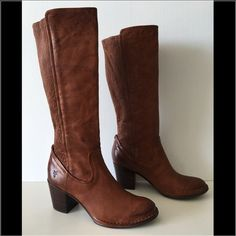 """FRYE LUCINDA SCRUNCH COGNAC LEATHER BOOTS FRYE Lucinda  -Condition: Brand New Without Box. -Size: US Size 9 (True to size). -Model: Lucinda Scrunch. -Color: Cognac. -Western inspired topstitched leather.  -Almond toe. -Topstitching. -Leather construction. -Elasticized back shaft panel. -Stacked heel. -Pull-on. -Approx. 14"""" shaft height, 13"""" opening circumference. -Approx. 2.5"""" heel. -Imported. -Retails for $548.00 -Same Day Shipping. Frye Shoes Heeled Boots"""