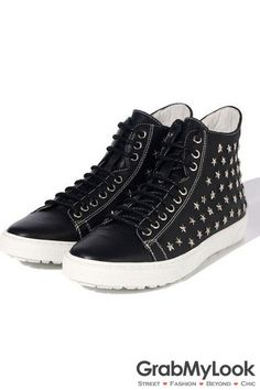 GrabMyLook Black White Leather Stars Studs Lace Up Mens High Top Sneakers Ankle Boots Shoes