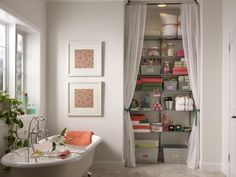 Creative Bathroom Storage Ideas >> http://www.hgtvremodels.com/bathrooms/creative-bathroom-storage-ideas/pictures/index.html?soc=pinterest#.   The drapes but for my closet