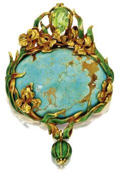 GOLD, TURQUOISE, PERIDOT AND ENAMEL PENDANT-BROOCH, MARCUS & CO., CIRCA 1900 Art Nouveau