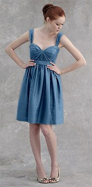 Bridesmaid strapped sweetheart neckline with a starburst gathered bodice in baltic blue