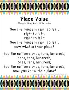 math, math Here's a song for helping students remember the names for whole number place values to the hundreds.Here's a song for helping students remember the names for whole number place values to the hundreds. Math Classroom, Kindergarten Math, Teaching Math, Math Math, Classroom Ideas, Classroom Freebies, Teaching Ideas, Teaching Tools, Future Classroom