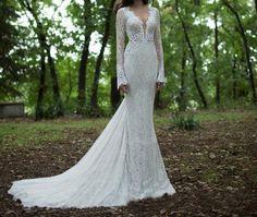 Etsy rendition of a Berta Bridal dress. Lace Long Sleeve Deep V Neck Mermaid Wedding Dress, Lace Bridal Dress