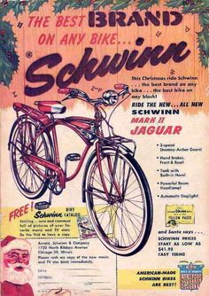 Vintage Schwinn Christmas Ad I love these old bicycle ads.